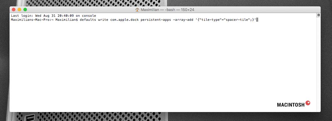 Der Code steht im Terminal - so soll es aussehen!